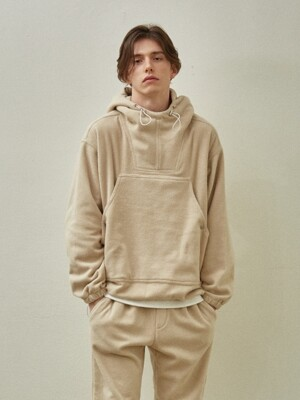 Fleece Over Size String Hoodie_Beige