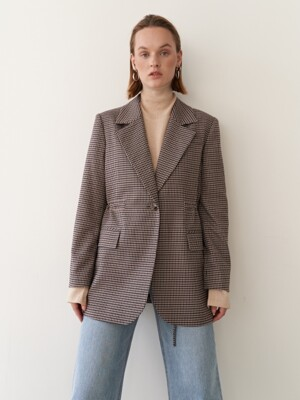 19FW CHECK SAFARI BLAZER BROWN CHECK
