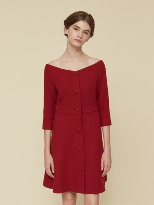 RED OFF SHOULDER BUTTON DRESS