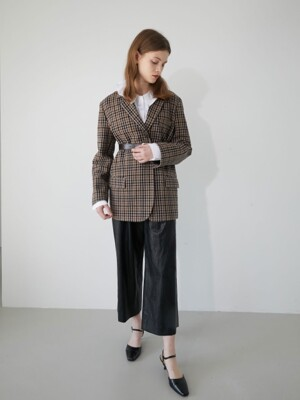 19' WINTER_CHESTNUT CHECK BASIC SINGLE JACKET