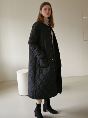 19W LONG QUILTING COAT (BLACK)