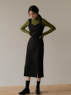 [SET] DIVIDEDNESS JUMPER SKIRT BLACK +R BASIC POLA OLIVE