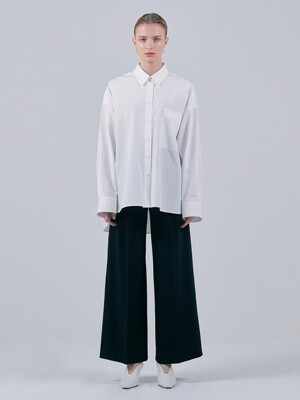 WOOL WIDE LEG TROUSERS - BLACK