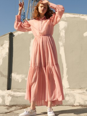 Polka Dot Ruffle Long Dress_Pink