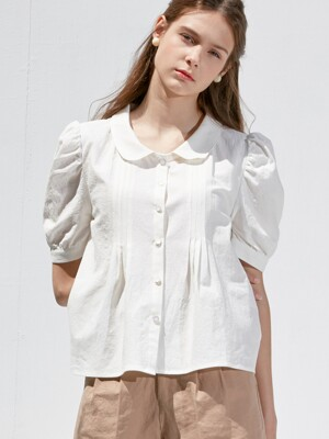 comos'360 shawl collar pintuck blouse (ivory)