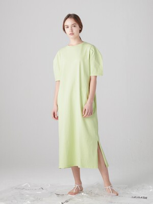 Curved short sleeve dress - Melon