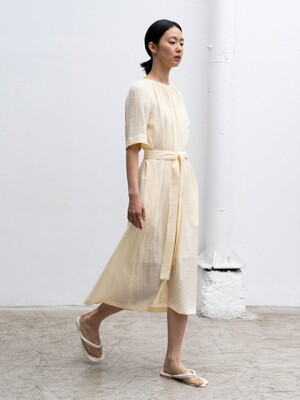 20SUMMER GATHERED-NECK LONG DRESS (YELLOW)
