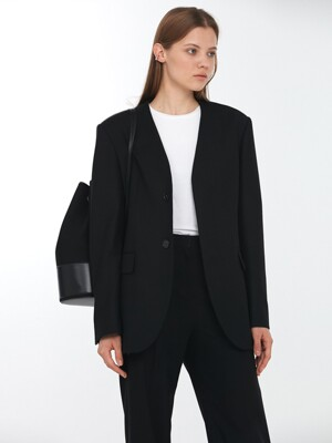 UNISEX COLLARLESS WOOL BLAZER BLACK_UDJA0F101BK