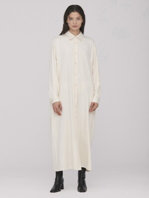 Lena Long Shirt Dress_Cream