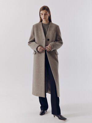 COLLARLESS WOOL LONG COAT OATMEAL_UDCO0F211I1