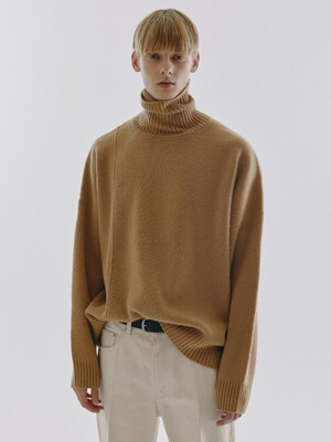 UNISEX LINKED TURTLENECK WOOL SWEATER CAMEL_M_UDSW0F111CM