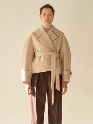 TTW TWEED WOOL HALF COAT 2COLOR