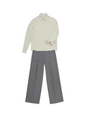 [SET]YEOUINARU One pocket basic shirt (Light mint)&BORAMAE Wide leg trousers (Khaki gray)