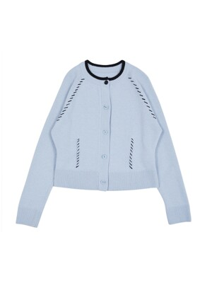 [EXCLUSIVE] Hand Stitch Knit Cardigan dusty blue & black