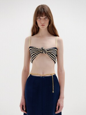 SI Knotted Knit Top - Beige/Navy Stripe