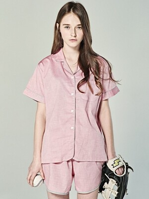 (W) Short Sleeve Pajama Set Chambray Red