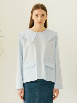 Sailor Collar Top - Baby Blue