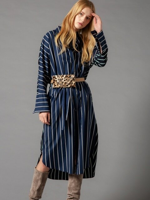 Two fabric Stripe Shirt dress