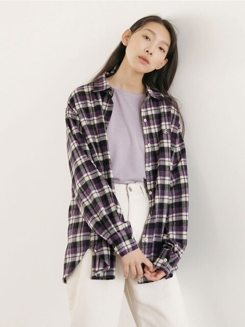 Mild Logo Check Shirts - Purple