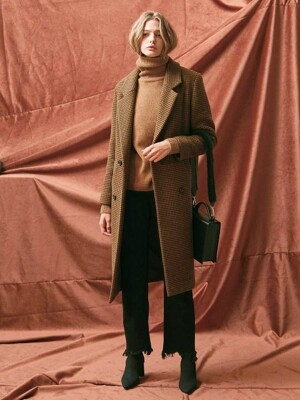 HOUNDTOOTH DOUBLE LONG COAT.CAMEL