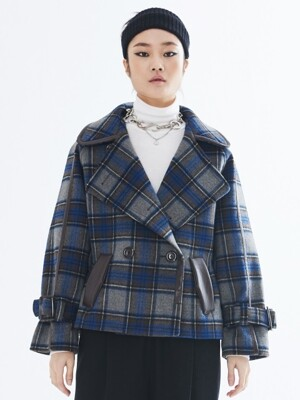 LEATHER TRIM HALF COAT_BLUE PLAID