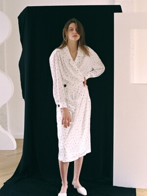 WRAP DRAPE DRESS PRINTED WHITE