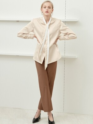 color block tie blouse Beige