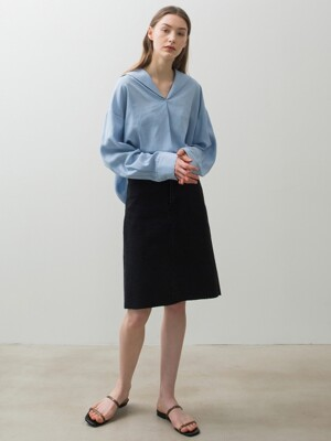 Pin Tuck Blouse - Baby Blue