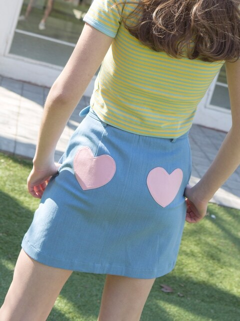 1 0 heart belt denim skirt - SKY BLUE