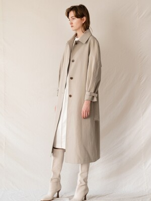 FW19 Cotton blended single trench coat khaki