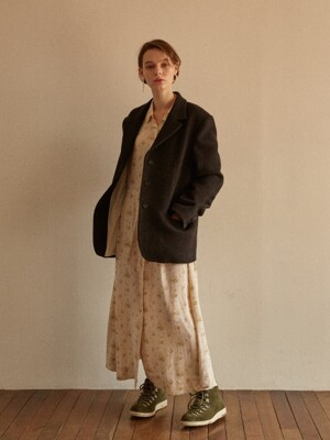 AGRESTE OVERSIZED 3BTN BLAZER BROWN HERRING BONE