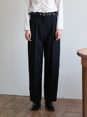 19FW MID-RISE CROP TROUSERS (BLACK)