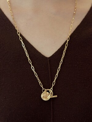 light rough pendent necklace-gold