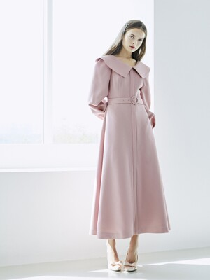 [EXCLUSIVE] BONITA V-neck big collar shirt detail Dress (Indian Pink)