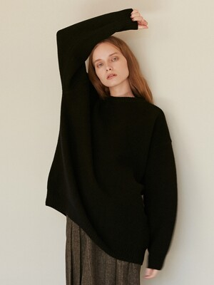 A OVERSIZED KNIT TOP_BLACK