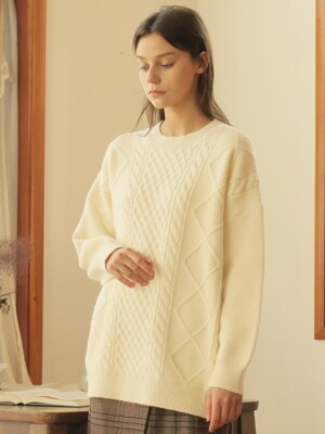 CABLE PULLOVER WOOL KNIT_IVORY
