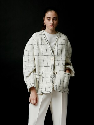 CHECK TWEED JACKET - WHITE