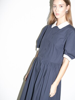 [단독] MELROSE round collar over sized shirt dress (Washed Navy)