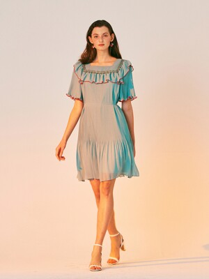 ALL PLEATS MINI DRESS_MINT