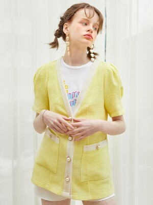 Puff Shoulder Linen Jacket_ Lemon