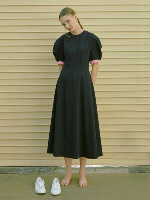 POSITANO bishop short sleeve dress (Black & Pink)