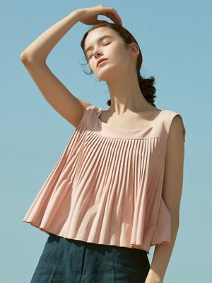 J451 pleats sleeveless top (pink)