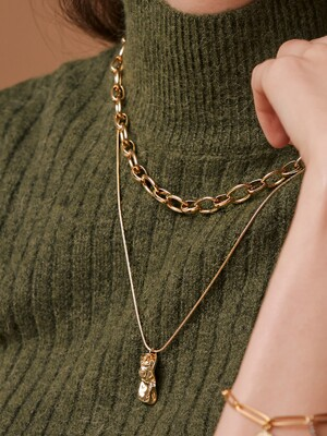 SNAKE & CHUNKY CHAIN SET NECKLACE