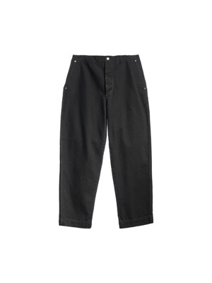 CONTRAST STITCH PANTS / BLACK