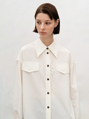 DOUBLE STITCH WOOL SHIRT (WHITE)