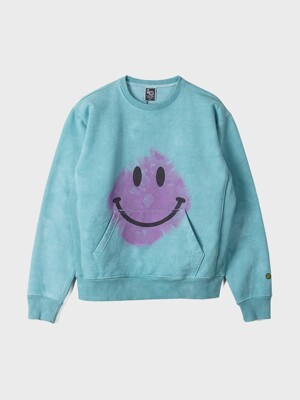 Tie dye MAD Smile Sweat Shirts / Turquoise Pink