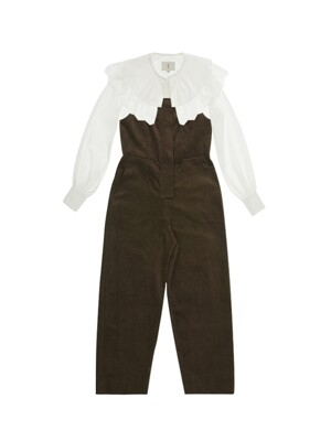 [SET]SINSA Wide eyelet collar blouse (Off white) & JAMSIL Overall jumpsuit (Khaki corduroy)
