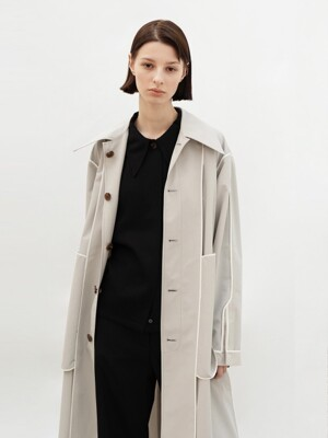 [SUMMER WOOL] REVERSIBLE MAC COAT (L/GREY)
