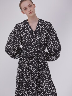 DEMERE LEOPARD PRINTED SHIRT DRESS  (BLACK)