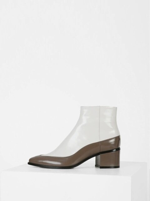 TWO-COLOR ANKLE BOOTS - IVORY + DARK KHAKI